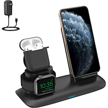 Amazon Com Wireless Charger 3 In 1 Wireless Charging Stand For Latest Airpods Iphone And Iwatch Wireless Charging Station Compatible For Iphone 11 11 Pro Max X Xs Max 8 Apple Watch Charger 5 4 3 2 1 Airpods 2