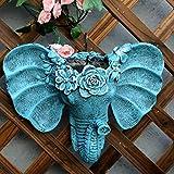 zenggp Maceta Colgante De Pared con Forma De Cabeza De Elefante Maceta De Flores Jarrón Exterior para El Hogar Macetas De Jardín Contenedores De Adornos,Blue