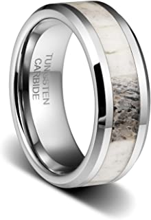 TUSEN JEWELRY 8mm Tungsten Ring Polished Finish Deer Antler Inlay Mens Wedding Band