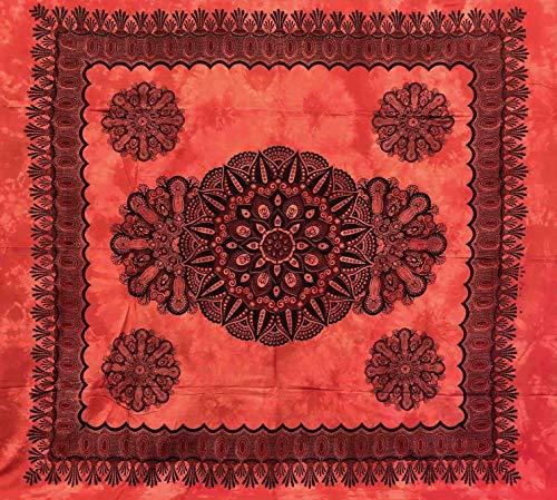 Telo Arredo Copritutto Grande Crochet 210x230 cm 100% Cotone Indiano Stampato Copri divano Gran foulard con Frange (Rosso)