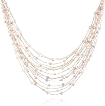 Silk Thread and Cultured Freshwater Pearl Multi Strand Cluster Necklace, 17-19 inches