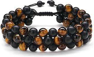 MONOZO Beaded Bracelets for Men Women - 8mm Tiger Eye Bead Bracelet Adjustable Natural Lava Rock Stone Essential Oil Anxiety Aromatherapy Bracelets Jewelry Gifts