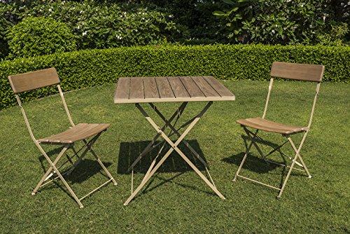 Chalet et jardin 3760233233732 Salon DE Jardin pour Bistro en ROBINIER CÉRUSÉ, Marron, 70x70x74 cm