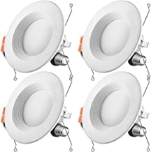 Otronics 5/6 inch Dimmable LED Recessed Light Fixture,15W(100w Replacement) 1100 Lumens(CRI90) Neutral White 4000k,LED Downlight Retrofit Kit,Energy Star UL-Listed,Pack of 4