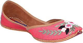 MSC Leather Ethnic Peach Flat Bellie for Women