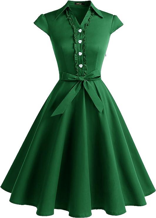 10+ Websites with 1940s Dresses for Sale Wedtrend Womens 1950s Retro Rockabilly Dress Cap Sleeve Vintage Swing Dress  AT vintagedancer.com