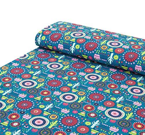 Confeccionada en algodón de punto de jersey con flores mágicas, cactus, lunares, azul, rojo, rosa, azul petróleo, se vende por metros a partir de 25 x 150 cm, tela para coser.