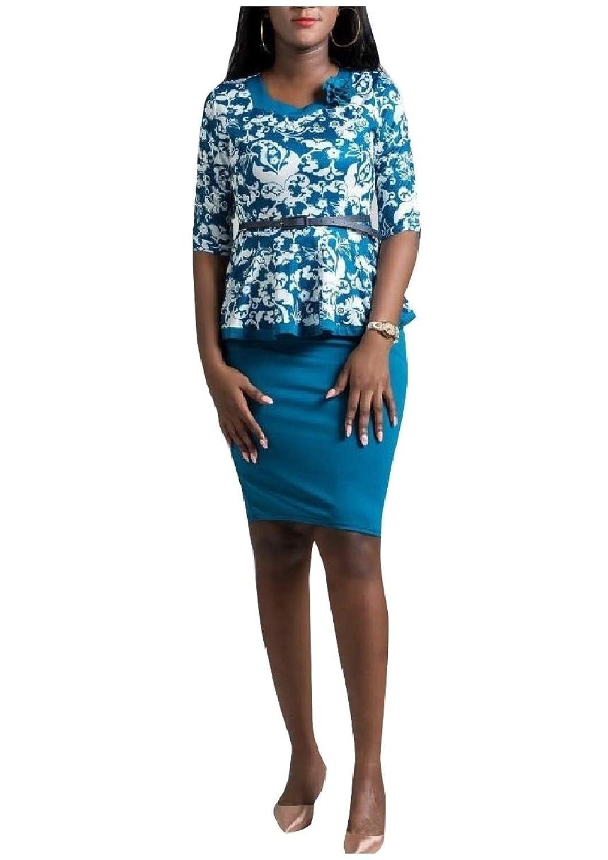 GodeyesW 女性のプラスサイズフォーマル2ピースプリント2 / 3スリーブスカートスーツ
