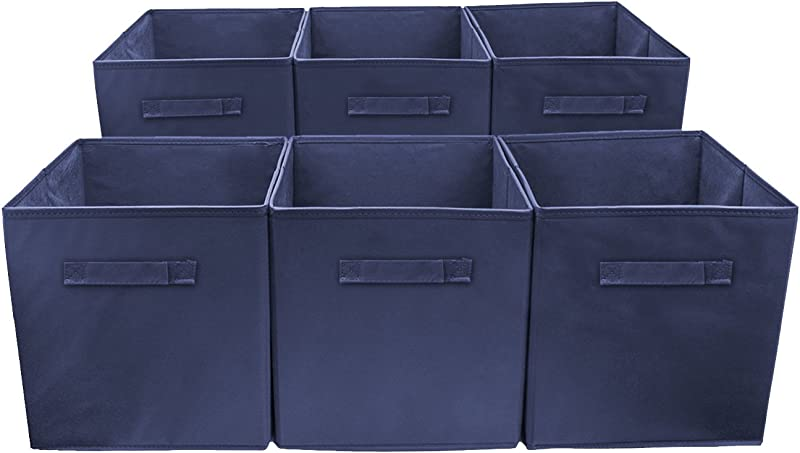 Sorbus Storage Cube Basket Bin 6 Pack Navy Blue
