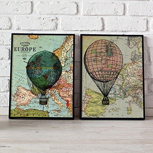 PACK van bladen GLOBOS. Poster met afbeeldingen van ballonnen en kaarten. Interior. Frame voor frame. 250 gram papier van hoge kwaliteit