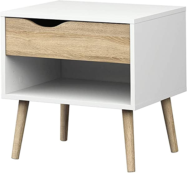 Home Style Diana 1 Drawer Nightstand White Oak Structure
