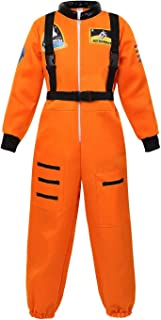jutrisujo Astronaut Costume for Kids Space Suit Jumpsuit Role Play Costume Boys Girls Teens Toddlers Children's Orange S