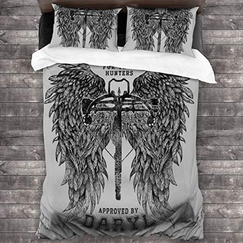 KUKHKU The Walking Dead Armbrust genehmigt von Daryl 3-teiliges Bettwäsche-Set Bettbezug 218 x 178 cm, dekoratives 3-teiliges Bettwäsche-Set mit 2 Kissenbezügen