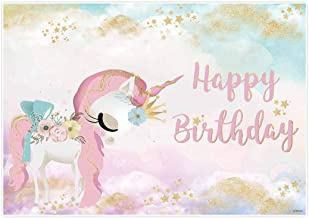 Allenjoy 6x4ft Happy Birthday Unicorn Theme Backdrop Party Decorations Watercolor Sky Photo Supplies Pink Gold Glitter Background for Girls 1st Decor Newborn Portrait Pictures Photoshoot