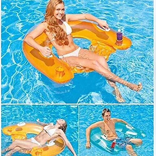 YYM Juguete de Playa Flotante Inflable de Lujo con Fila sentada para niños y Adultos con ubicación de Bebida Estructura de cámara de Aire Doble Dos Asas de Alta Fuerza - Uso en Fiesta en la Piscina