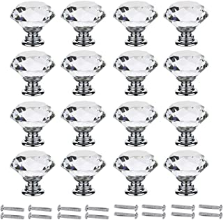 Interlink 16 pcs 30mm Crystal Glass Cabinet Knobs Clear Diamond Shape Drawer Pull Handle with Screws for Cupboard Drawer D...
