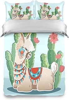 YnimioHOB Divertida Alpaca Llama Cactus Plantas Niños Juego de Funda nórdica Doble Juego de 3 Piezas de Ropa de Cama Suave y cómoda Colcha Funda de Almohada para Chico Chica Adolescente