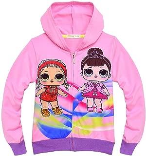 Girls Zip Hoodie Sweatshirt Children Coat Cartoon Jacket Outwear Doll Surprise