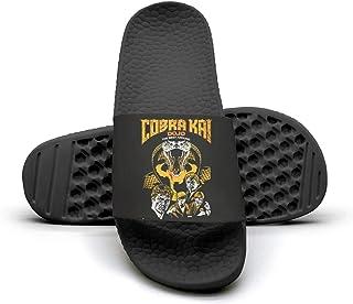 Cobra-Kai-Snake-Logo-No-Mercy-Emblem- Mens Slip Resistance Fashion Beach Slides Shoes Sandals
