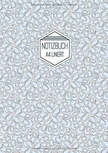 Notizbuch A4 Liniert: Softcover Hellblau Weiß Florales Muster