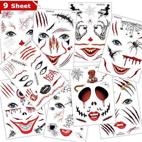 Halloween Tattoos,Eyscoco Temporäre Tattoos Kunstblut Narben Wunde Spinne Skorpion für Halloween Zombies Vampir Cosplay Carnival Party Accessoires Prop Dekorationen Aufkleber (Narbengesichtsaufkleber)