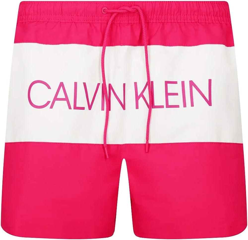 Calvin klein medium drawstring,  costume da bagno a pantaloncini  per uomo,100 poliestere KM0KM00456F