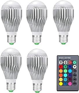 SGJFZD 5PCS RGB LED Lamp 10W 85-265V E27/E26 LED RGB LED Light Bulb 110V 120V 220V LED Soptlight Remote Control 16 Colors ...