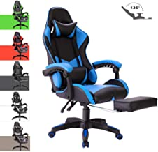 Advwin Gaming Chair Racing Style, Ergonomic Design with Footrest Reclining Executive Computer Office Chair, Relieve Fatigue Blue (65 * 65 * 127-135cm)