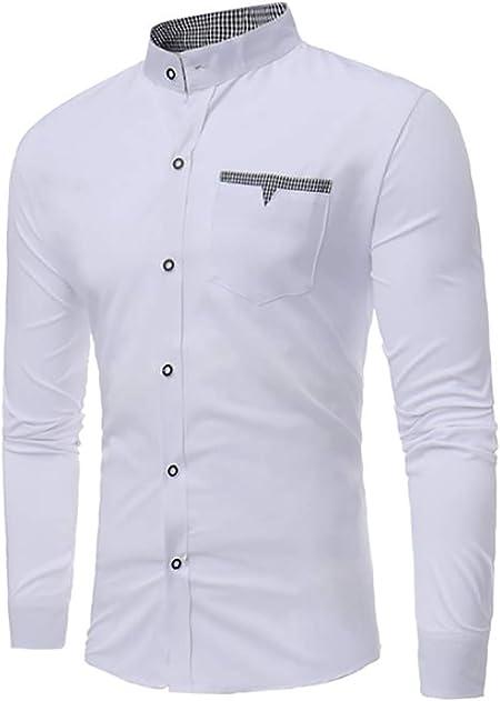 X&Armanis Camisa de Color Liso para Hombres, Bolsillo de ...