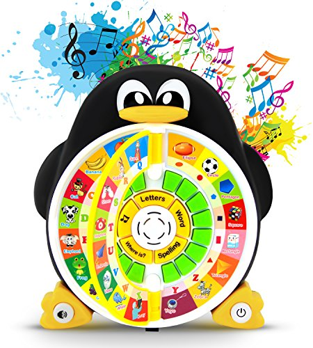 "Boxiki kids Penguin Power ABC Learning Educational Toy Learning Game Center Boosts Core Pre-Kindergarten Subject Comprehension – ABCs, Words, Spelling, Shapes, ""Where is?"" & Songs"