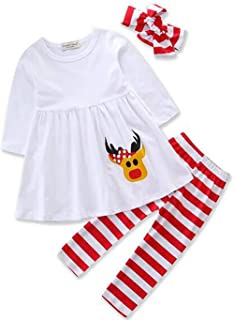 LOTUCY 2PCS Baby Girls Christmas Outfits Santa Claus Dress Tops Leggings Clothing Set