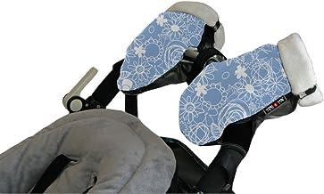 Tris&Ton Manoplas impermeables invierno silla de paseo Modelo Estampado Azul, guantes prueba de viento forro polar para carrito carro cochecito (Tris y Ton)