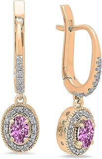 Pendientes colgantes de oro rosa de 18 quilates, 5 x 3 mm, cada piedra ovalada y diamante redondo