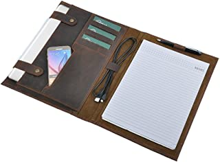 Rustic Leather Laptop Portfolio Case with Notepad Holder, Fits 13 inch Macbook Air / Macbook Pro,Brown