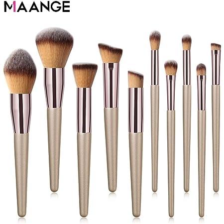 Maange10 Pieces Make Up Pinselset Kosmetik Pinsel Professionelle Kosmetik Make Up Pinsel Werkzeuge Kosmetik Make Up Pinsel Set Champagner Gold Amazon De Beauty