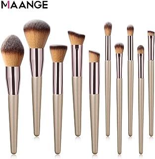 MAANGE Make-up kwasten set 10 stuks champagne goud gezicht compleet make-up tas goud
