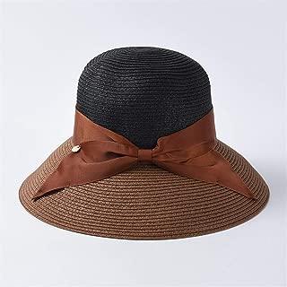 Summer Sun Hat Women's Day Contrast Color Bow Strap Foldable Sun Visor Casual Joker Beach Cap` TuanTuan (Color : Coffee)