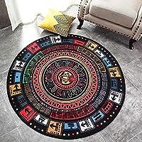 Xkunカーペット、幾何学的な敷物、円形のカーペット(サイズ:90x90cm)