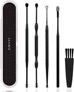 Jianyi Ear Pick, Ear Curette Cleaner, Ear Wax Removal Tool Kit with Storage Box and Cleaning Brush - Set of 5