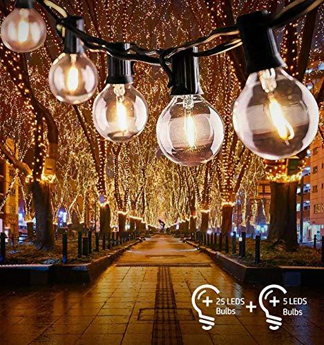 Catena Luminosa Lampadina, Bteng Illuminazione Giardino 32Ft con Stringa Lampadine G40 25 + 5 Extra Luci Impermeabile IP44 per Feste Esterno Interno Natale Capodanno Matrimonio