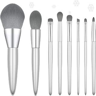 ENERGY Makeup Brush Set 8pcs Premium Synthetic Foundation Powder Blush Concealer Blending Eye Makeup Brushes for Liquid Powder Cream (Silver)