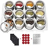 Magnetic Spice Tins,12 Stainless Steel Spice Jars with Wall Mounted Spice Rack,Storage Spice Containers with Spice Labels,Clear Top Lid with Sift/Pour and Small Holes,Rust Free Magnetic Spice Rack for refrigerator