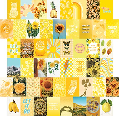 Yellow Wall Collage Kit Aesthetic Pictures 50 set, Sunny Summer Room Decor for Teen Girls, College Dorm Wall Decor, Photo Collection