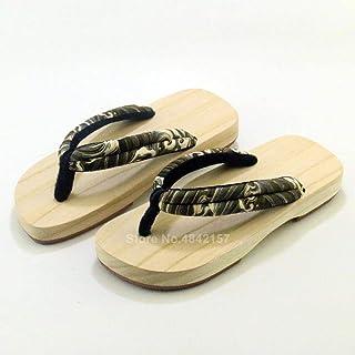 JJIAOJJ Pantuflas japonesas de madera hechas a mano Samurai Geta Zuecos para hombres y mujeres Kimono Cosplay Sandalias Fl...