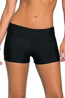 Boldgal Girl's Bathing Swimwear Waistband Shorts Bikini (Black)