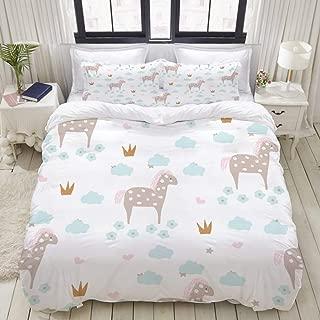 "Mokale Twin Size Duvet Cover,Seamless Pattern Cartoon Horse Golden Crowns,Decorative 3 Piece Bedding Set with 2 Pillow Shams,Zipper Closure,Ultra Soft 68"" 86"""