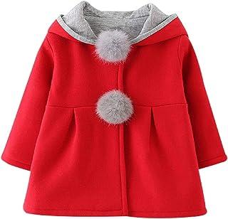 Zhaozhe子供服 コート 女の子 アウター ジャケット ウサギ耳 ポンポン付き フード付 長袖 厚手 防寒 秋冬 可愛い 通園 お出かけ