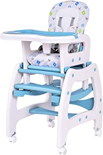 Costzon Baby High Chair, 3 in 1 Convertible Play Table Set, Booster Rocking Seat with Removable Feeding Tray, 5-Point Harness, Lockable Wheels (Blue)