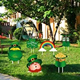St. Patrick's Day Yard Signs for Yard Lawn Outdoor,St. Patrick's Day Decorations 6 Packs Signs with Stakes Shamrock & Four Leaf Clover Irishman Horseshoe Pot of Gold & Beer Glass Sign