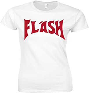 Women's 80'S Flash Gorden (Freddie Mercury) Fitted T Shirt, White